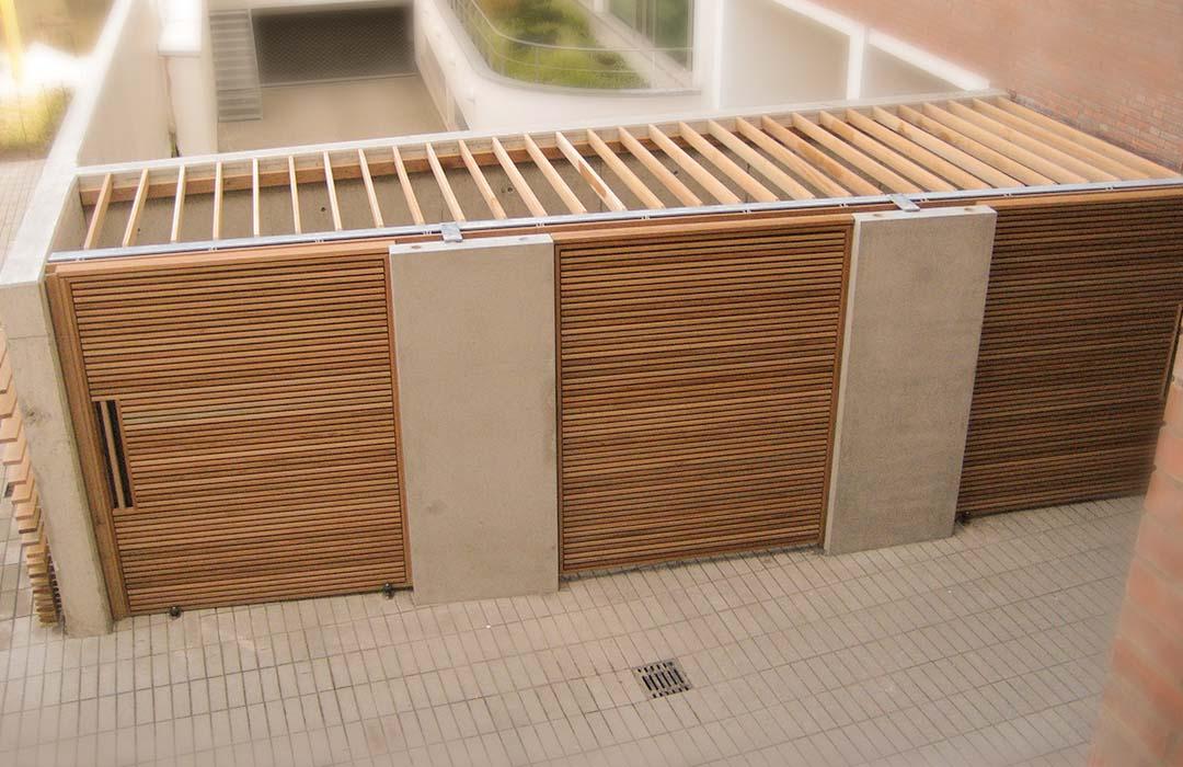 Holz Zaun Holzverkleidung Mülleinhausung aus Holz